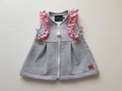 detská bavlnená vesta s mašľou a kapucňou